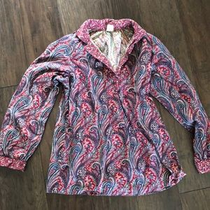 Vintage paisley pullover button up shirt